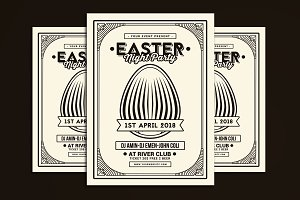 Easter Party Flyer Art Deco Style