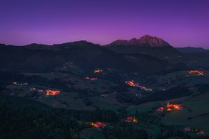 Aramaio valley at night