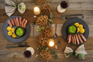 Christmas menu with duck breast