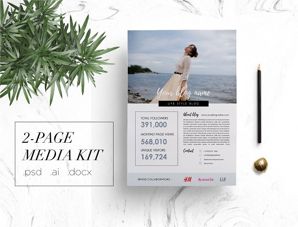 Modern 2-page media kit  in Brochure Templates