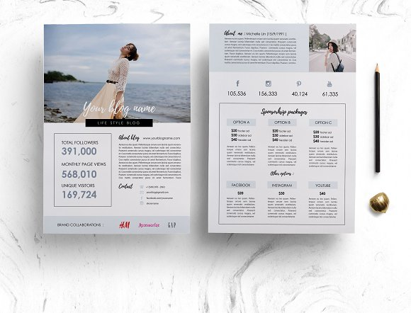 Modern 2-page media kit  in Brochure Templates - product preview 1