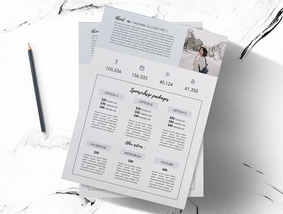 Modern 2-page media kit  in Brochure Templates - product preview 2