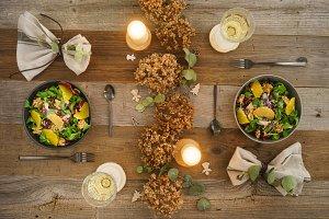 Christmas menu with salad