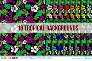 Tropical Hibiscus Background Pattern