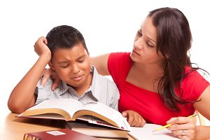 Mother and Frustrated Son Studying