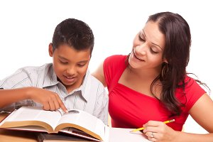 Mother Helping Son Study on White