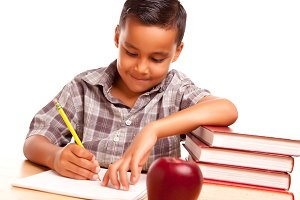 Hispanic Boy with Books & Apple