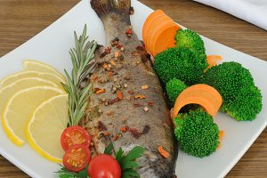 Baked sea bass with broccoli