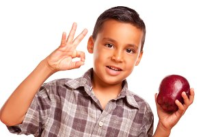Boy with Apple & Okay Sign on White