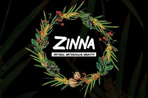 Zinna - Natural watercolor wreath