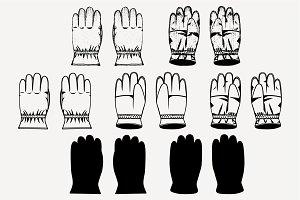 winter gloves vector SVG PNG DXF