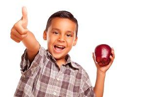 Hispanic Boy with Apple & Thumbs Up