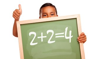 Boy Holding Chalkboard & Equation