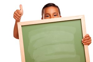 Boy Holding Chalkboard, Thumbs Up