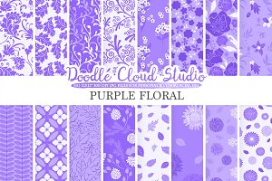Purple Floral digital paper
