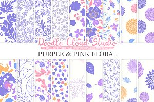 Purple and Pink Floral digital paper