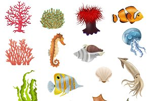 Set of sea life cartoon icons