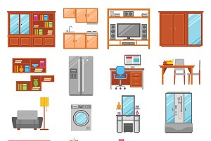 Set of interior furniture icons