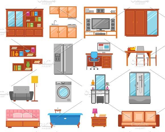Set of interior furniture icons