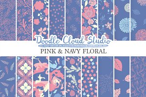 Pink and Navy Floral digital paper