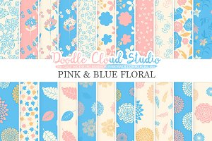 Pink and Blue Floral digital paper