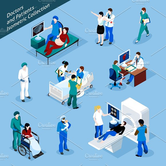 Doctor and patient Isometric icons