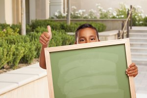 Boy with Thumbs Up, Blank Chalkboard