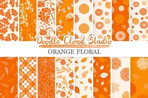Orange Floral digital paper