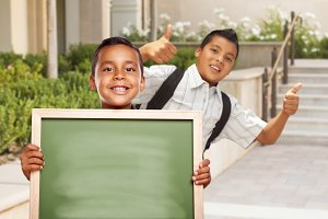 Students Thumbs Up, Blank Chalkboard