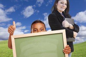 Student & Blank Chalkboard, Teacher