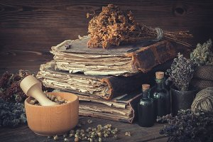 Tinctures, books and medicinal herbs