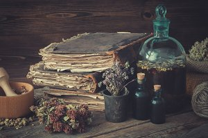 Tinctures, books and healthy herbs.