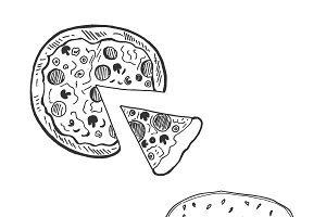 Pizza and hamburger in sketch style