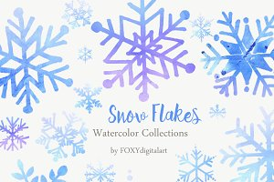 26 Christmas Snow Flakes Clipart