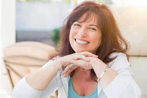 Attractive Middle Aged Woman Smiles