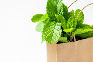 Fresh mint in paper shopping bag.