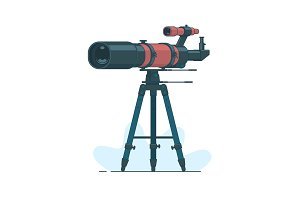 Telescope on support to observe stars. Astronomy. Astronomy mirror telescope. Discovery concept.Spyglass symbol.
