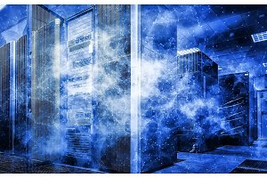 White and blue abstract network on server room data center. Concept big data and cloud technology