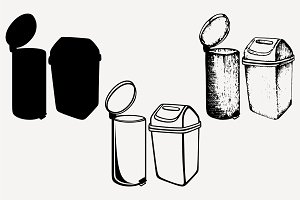 trash can set vector SVG PNG DXF