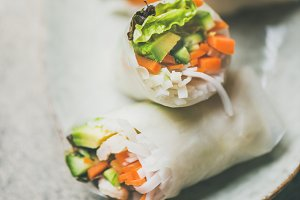 Shrimp and vegetable rice paper spring rolls, square crop