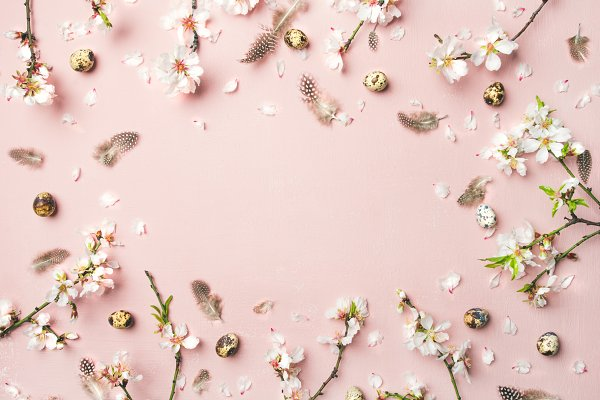 Easter background with eggs, almond…