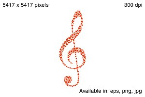 Treble Clef made with heart shapes