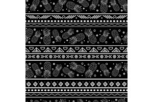 Vector black and white tribal pineapples stripes seamless pattern background. Great for fabric, wallpaper, invitations, scrapbooking.