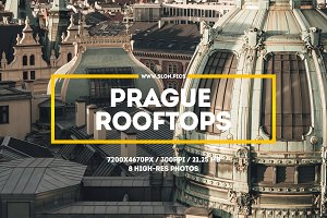 Prague rooftops. Set of 8