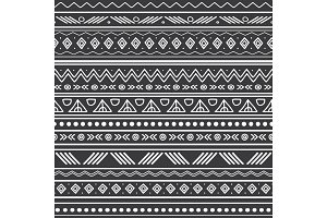 Vector abstract black and white tribal stripes seamless pattern background. Great for fabric, wallpaper, invitations, scrapbooking.
