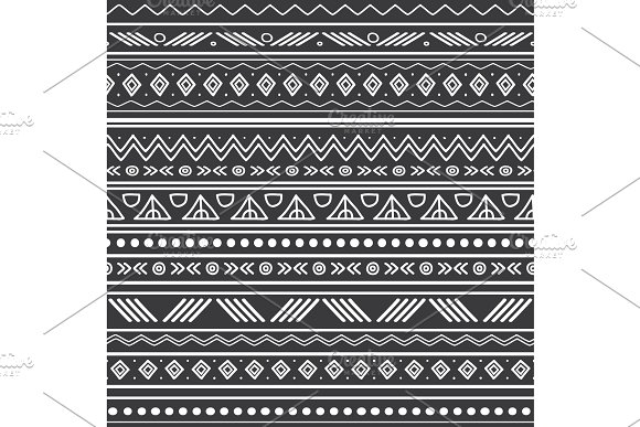 Vector Abstract Black And White Tribal Stripes Seamless Pattern Background Great For Fabric Wallpaper