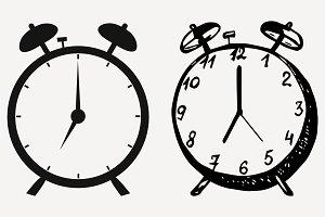 alarm clock set vector SVG PNG DXF