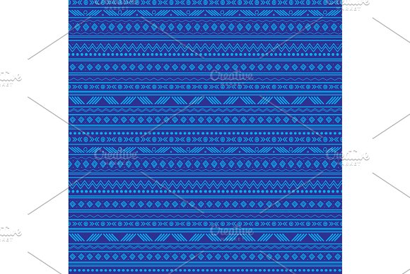 Vector Abstract Blue Tribal Stripes Seamless Pattern Background Great For Fabric Wallpaper Invitations Scrapbooking