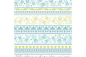 Vectorblue green tribal pineapples stripes seamless pattern background. Great for fabric, wallpaper, invitations, scrapbooking.