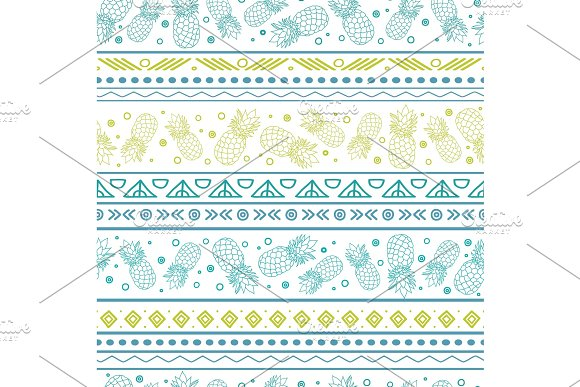 Vectorblue Green Tribal Pineapples Stripes Seamless Pattern Background Great For Fabric Wallpaper Invitations Scrapbooking